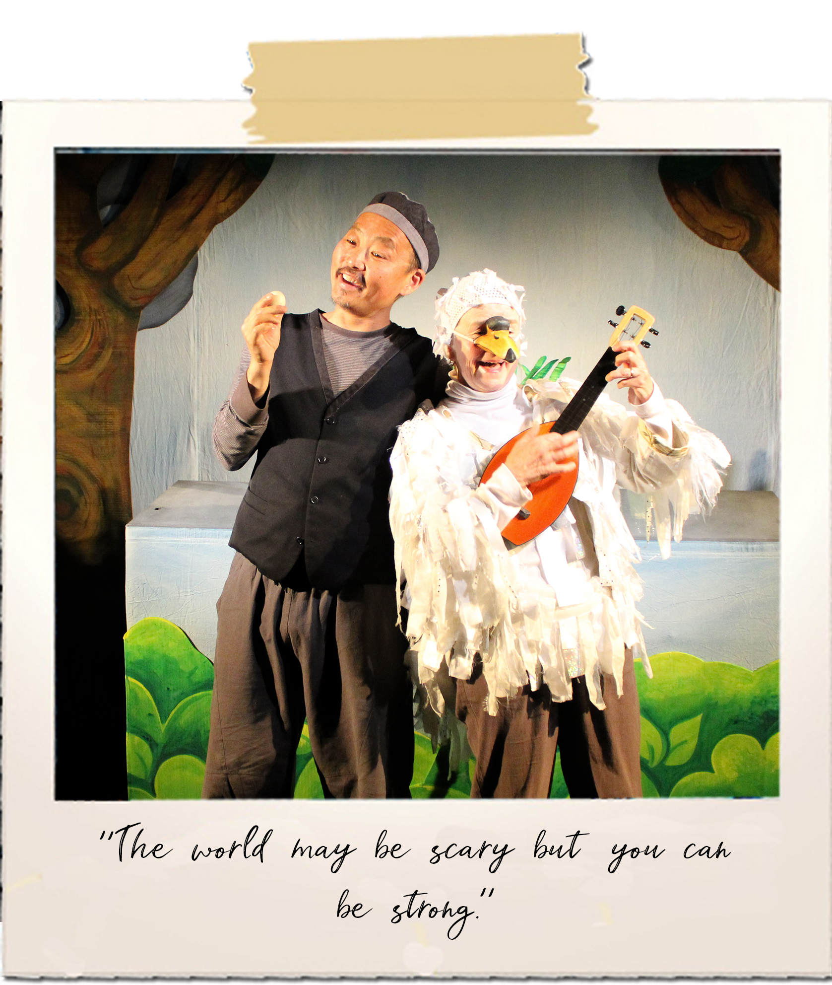 A man and a woman dressed as a swan sing together